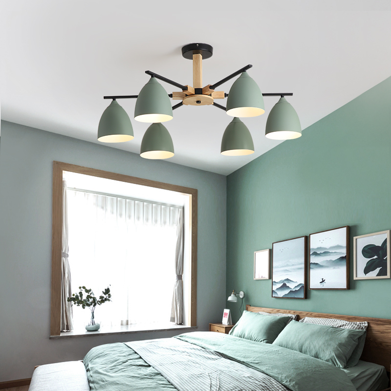 Living room ceiling chandelier multi-color lampshade solid wood Nordic style chandelier restaurant kitchen bedroom lampLiving room ceiling chandelier multi-color lampshade solid wood Nordic style chandelier restaurant kitchen bedroom lamp