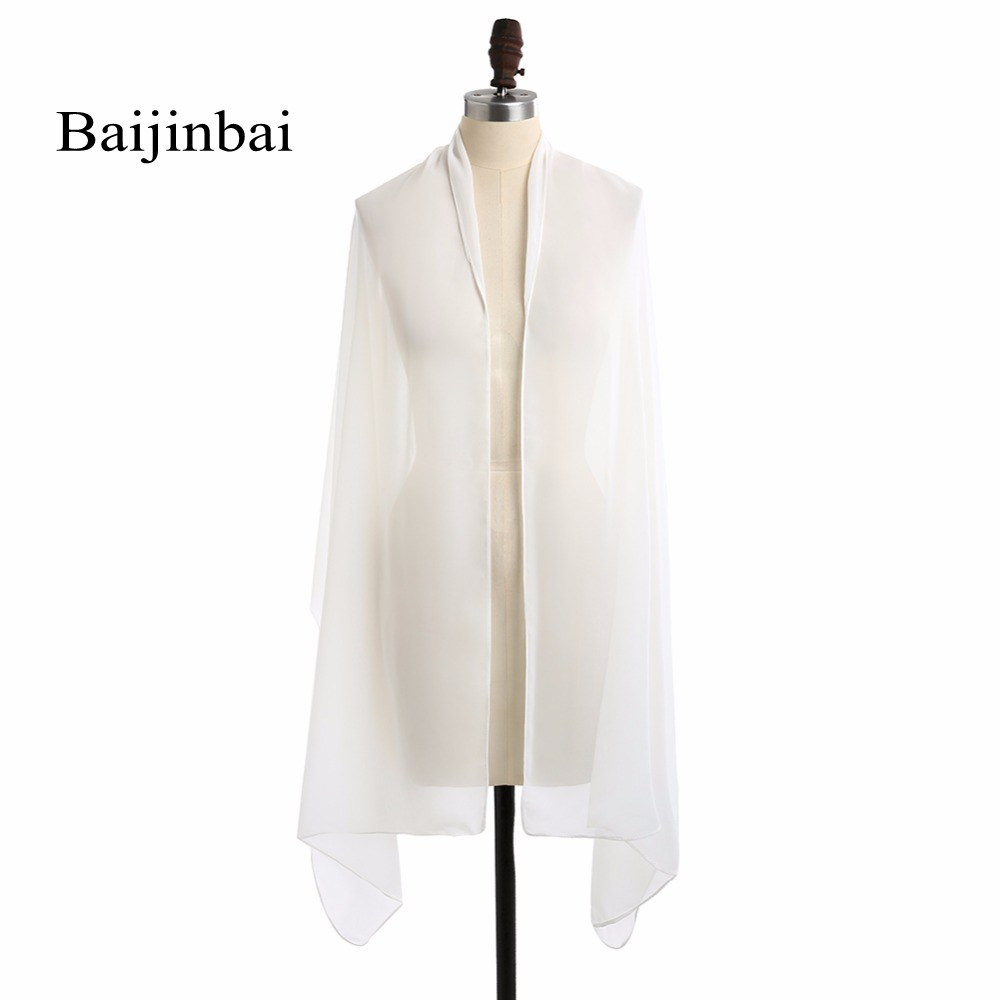Baijinbai White One Layer Long Wedding Shawl Wraps Chiffon Elegant Shawl Women Party Shawl Dress Occasion Scarf