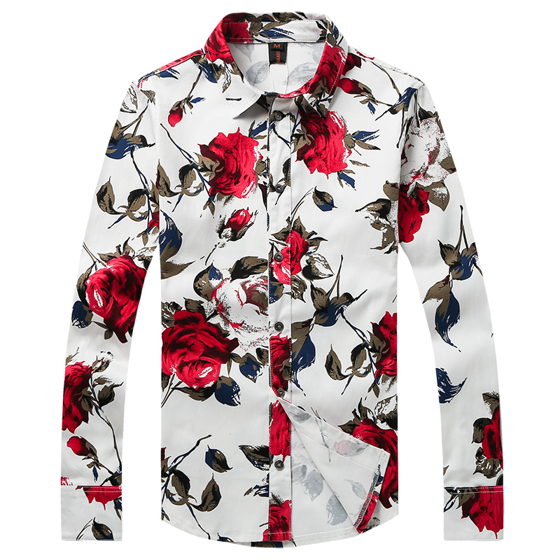 Freizeithemd für Männer Rote Blumenmarke Bedruckte Hemden Modehemd - Herrenbekleidung - Foto 1