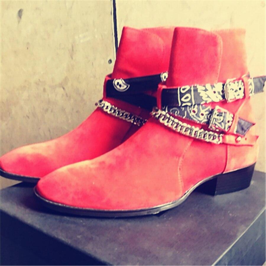 2018 haut de gamme exclusif chaîne boucle sangle Graffiti tissu Chelsea bottes rouge daim passerelle T show marque de luxe bottes décontractées pour homme-in Bottes de neige from Chaussures    3