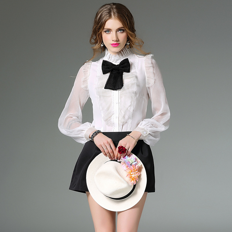 Luxury Silk Women's Shirts 2017 Spring Sexy Lace Vintage Blouses ...