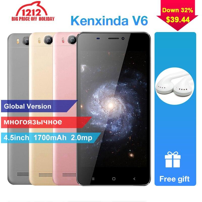 Kenxinda V6 originais 4.5g RAM 8 Polegada 1700 mah 1g ROM Android Smartphones 3g Quad Dual Core cartões SIM Telefones Celulares celular + Fone de Ouvido
