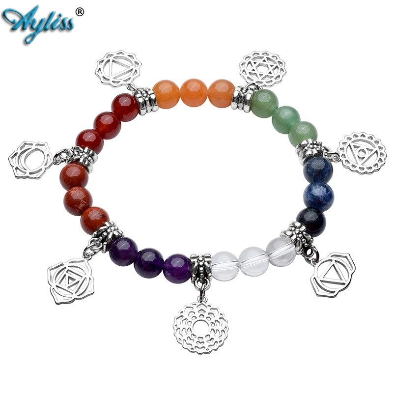 Ayliss New Hot 8mm 7 Chakra Gem Stones Natural Healing Balance Energy Stones Beaded Bracelet with 7 Chakra Charm Beads Bracelet
