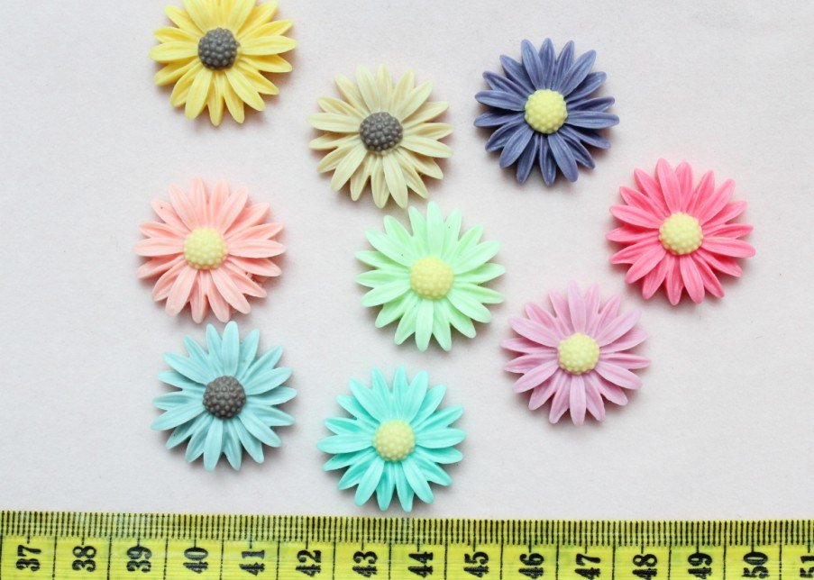 120pcs mixed colors Large Daisy Mum Flower Cab Cabochon 26mm Resin free shipping d25 ...
