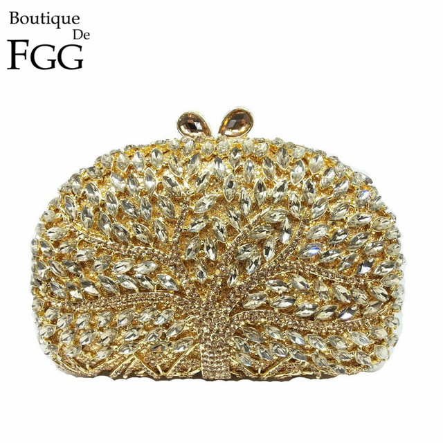 GIFT BOX Trees Sparkling Luxury Evening Bags Clutches For Wedding Women Crystal Rhinestone Handbags Brand Casual Clutch Hand Bag