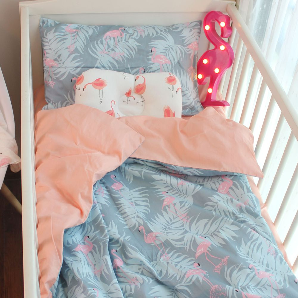 Baby bed sheet pattern - 3pcs A Set Baby Bedding Set Included Duvet Cover Bed Sheet Pillowcase 100 Cotton Flamingo