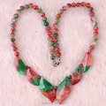 "Red Green Jade Leaves Bead Gems Necklace 18"" Strand"