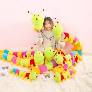 Разноцветные плюшевые игрушки гусеницы для детей, мягкая плюшевая подушка для удержания животных, мягкая хлопковая кукла, милая подушка дл...
