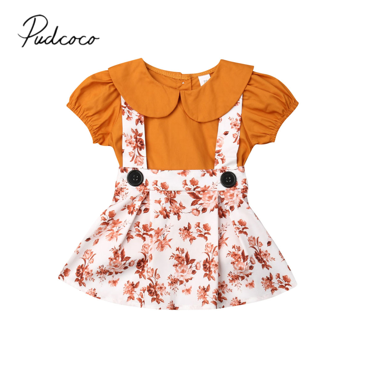 T-Shirt Tutu-Skirt Clothing Outfit-Sets Flowers Peter Newborn Baby-Girl Kid 2PCS Summer