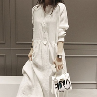 Women Spring Dress Cotton And Linen Long Sleeve Vintage Dress Casual Loose O Neck Long Dress