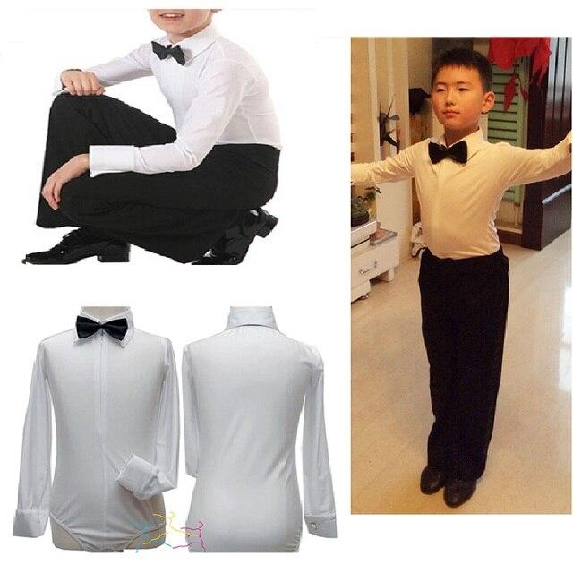 Camisas Ropa de baile de salón trajes de baile para niños niño latino  camisas niños blancos 9b256b86f5d