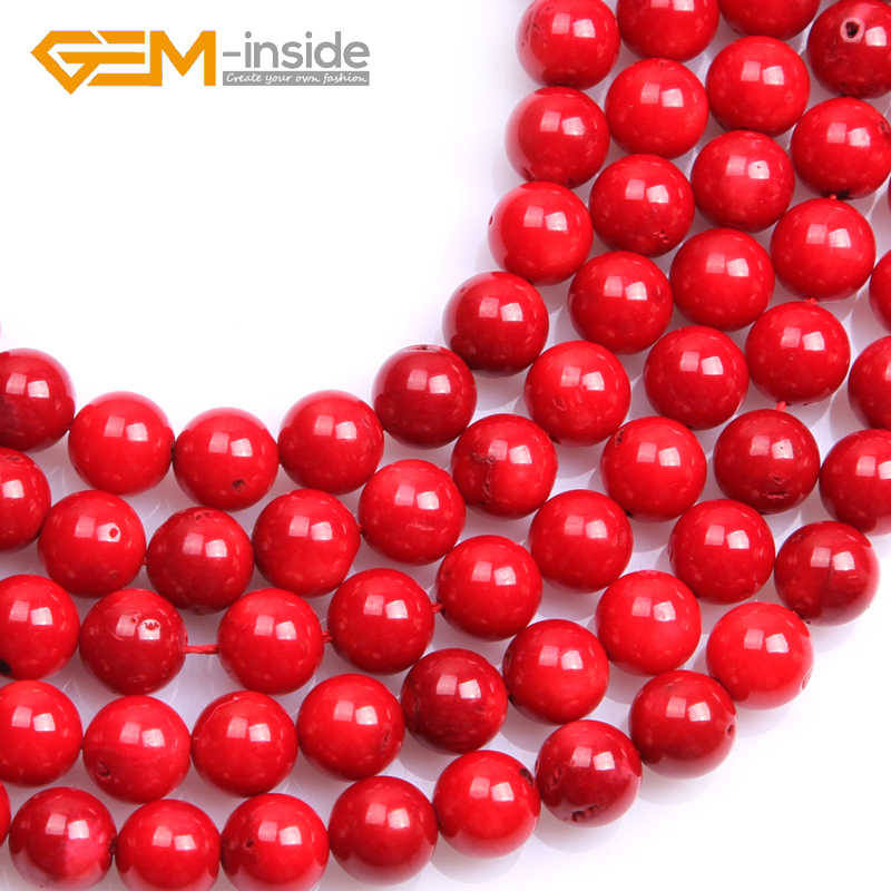 ラウンド染め赤珊瑚ビーズ: 4 ミリメートルに 11 ミリメートル DIY のためにビーズストランド 15 インチ卸売