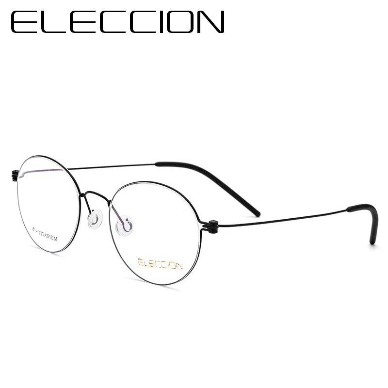 ELECCION Morten Style Quality Screwless Spectacles 2018 Round Ultralight B Titanium Glasses Frame Men and Eyeglass