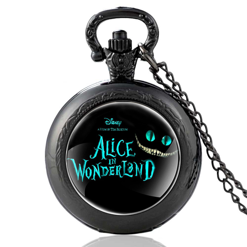 New Arrivals Black Alice In Wonderland Theme Quartz Pocket Watch Retro Men Women Pendant Necklace Watches Christmas Gift