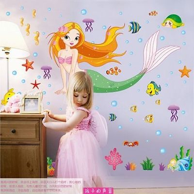50*70CM The Little Mermaid Wall Stickers For Kids Rooms Home Decoration Diy  3d Window