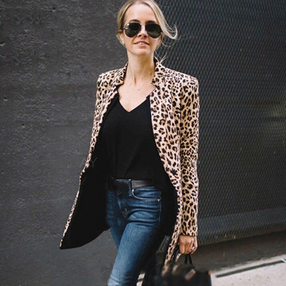 Fashion Casual Women Leopard Print Slim Suit Blazer Jacket Coat Outwear For OL Ladies Hot Sale 2019