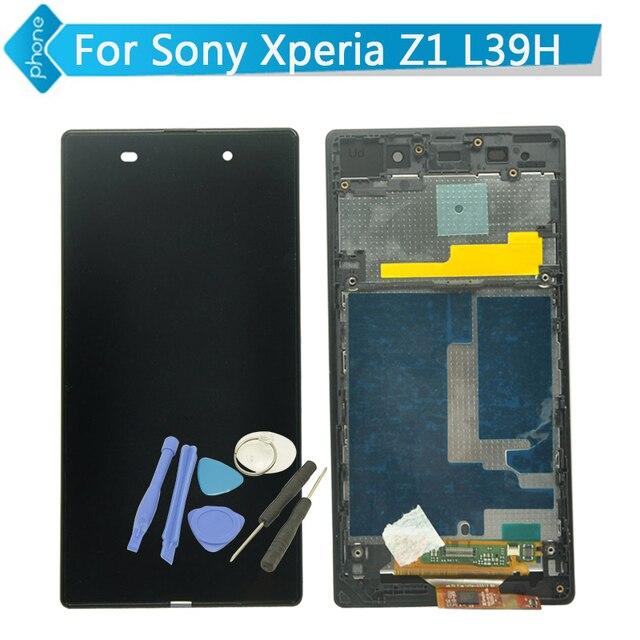 Для Sony Xperia Z1 L39H ЖК-Дисплей Сенсорный Экран Digitizer Рамка Ассамблея черный белый + Инструменты