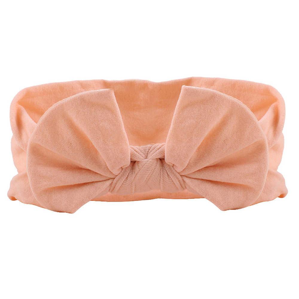 2019 Новинка, детская нейлоновая повязка на голову, мягкая кроличья чалма с бантиком, резинки для волос для детей, для девочек, эластичная повязка на голову, аксессуары для волос