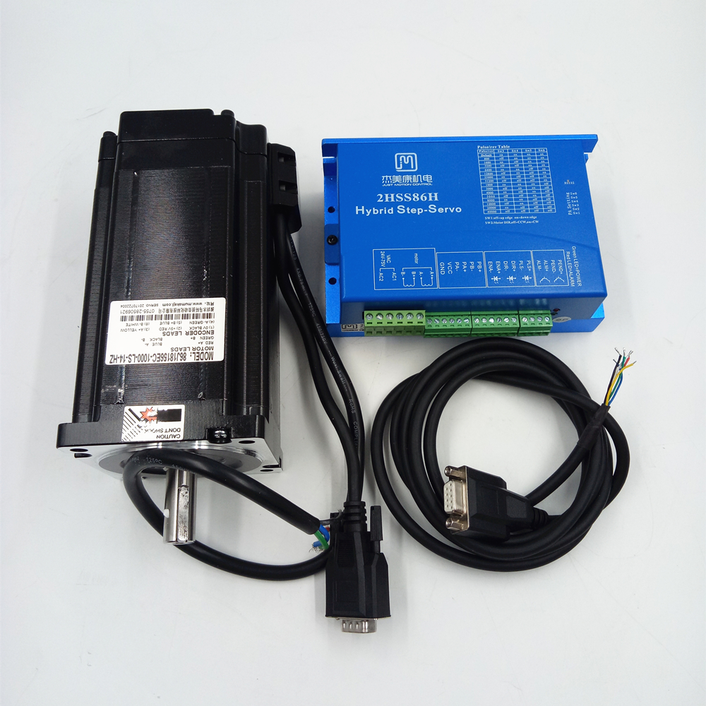 2-phase Hybrid Closed loop stepper system 86mm NEMA34 12NM 6A cnc cutting stepper motor and drive kit 86J18156EC-1000+2HSS86H 100w new leadshine closed loop system a servo drive hbs507 and 3 phase servo motor 573hbm10 1000 with a cable a set cnc part