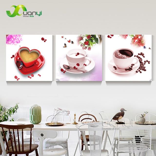 3 Pannello Cucina Caffè Quadri Moderni Dipinti Su Tela Astratta ...