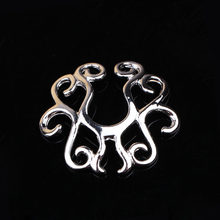 Fashion Stainless Steel Flowers Fake Clip On Non Piercing Nipple Shield Ring Jewelry(China)
