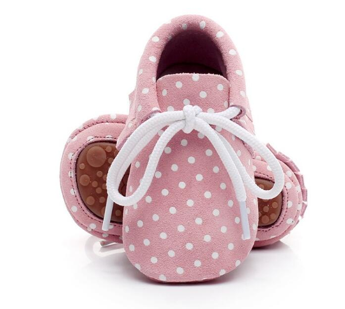 Hot Sell Leopard Dot Genuine Leather Baby Moccasins Lace Up Hard Rubber Sole Shoes Newborn First Walker Shoes Infant Sneakers