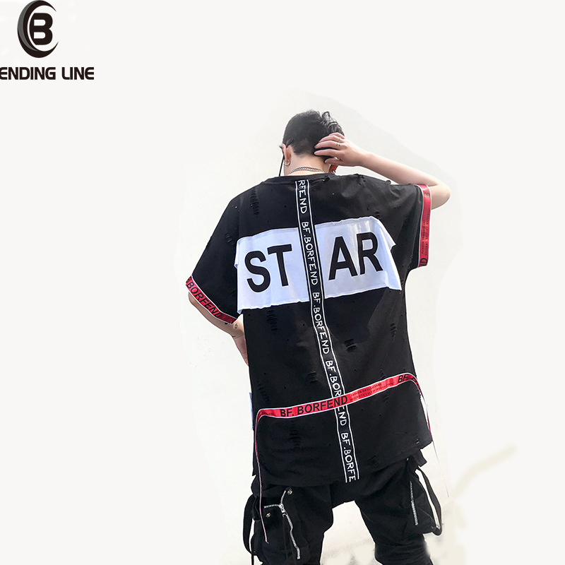 2018 Summer Skateboard Tee Boy Hip hop Skate Tshirt Tops Solid color Ripped Hole Zipper T Shirt Mens Black White T-shirts