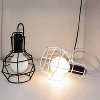 Vintage Wrought Iron Cage Pendant Lights E27 LED Metal Cage Lampshade Pendant Lamp Hanging Light Fixture
