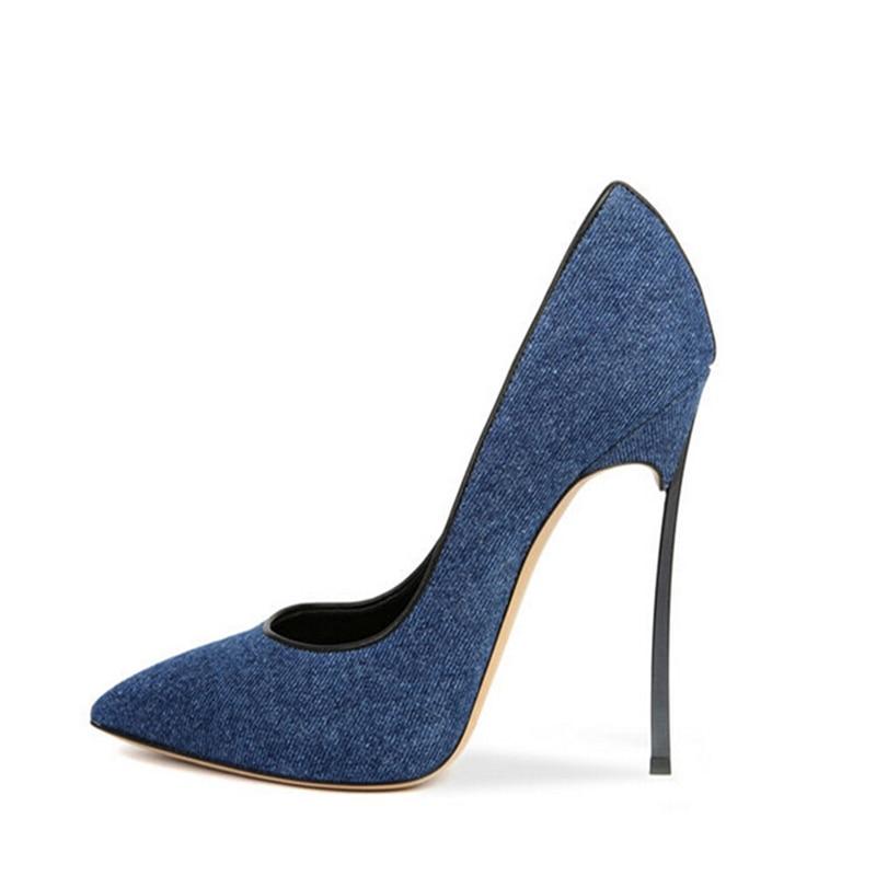 Sexy Plus Low Chaussures Talon Nouvelles Lady Sxq0627 Bleu La Mince 2018 34 Taille Mode Cut Pointu 42 Jeans D'été Bout Femmes Haute Pompes Denim wYFTWq6P