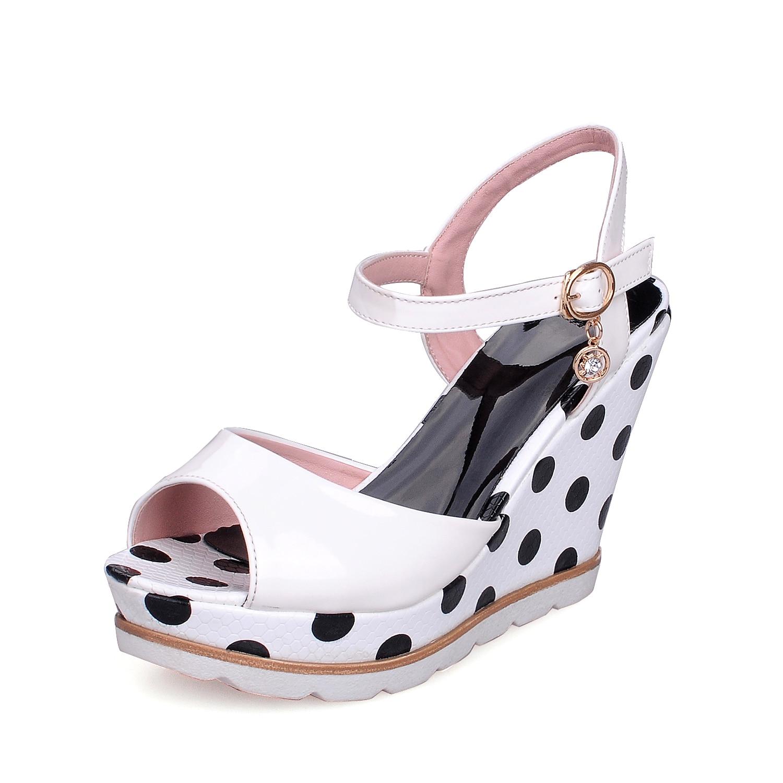 ESRFIYFE Plus Size 10 Women Sandals Ankelband Straw Platform Wedges - Damskor - Foto 3