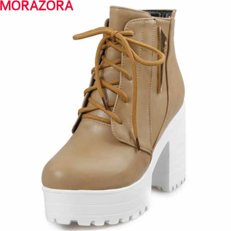 MORAZORA ใหม่มาถึงฤดูใบไม้ร่วงรองเท้าส้นสูงรองเท้า LACE-up รองเท้าข้อเท้าสำหรับผู้หญิงแฟชั่นขนาด 34- 44 ผู้หญิงรองเท้า