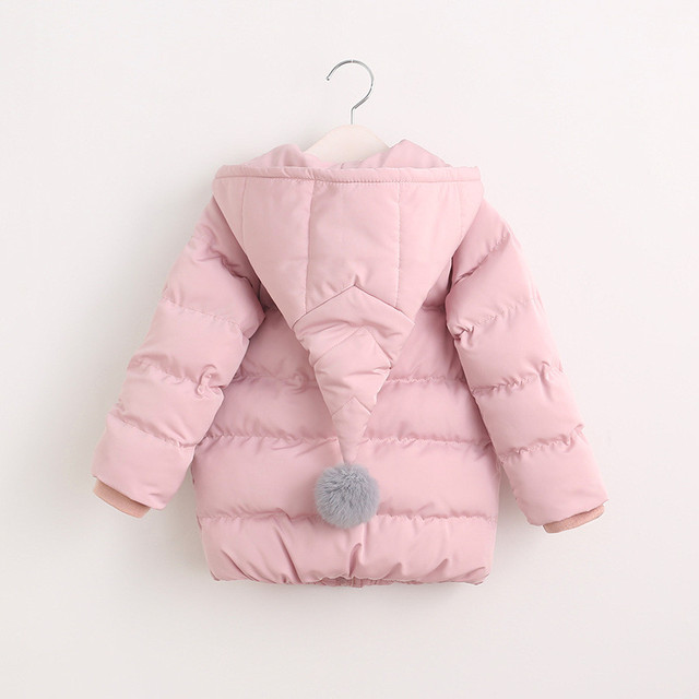 YGPR60980183 2016 Winter Baby Girl Jacket Solid Hooded Appliques Ball Girl Coat Kids Outerwears Girl Clothes Fashion