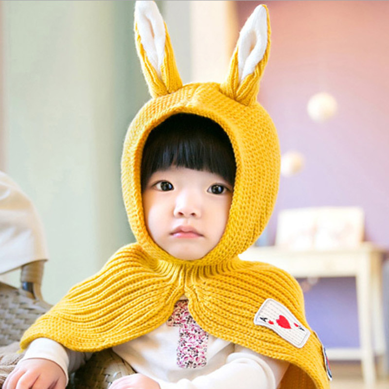 Hat Face-Hat Wool-Hats Winter Children New Cartoon Ear Shawl Ear-Protection Bunny Knitted