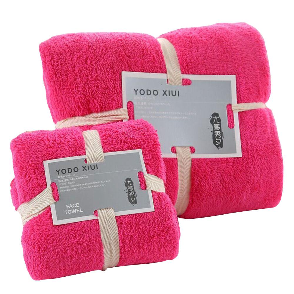 70X140 см, 4 цвета, набор полотенец для сна, полотенце для мытья, мягкое банное полотенце для лица, теплое полотенце для ванной, комплект утепленных принадлежностей для душа, хлопок - Цвет: rose red