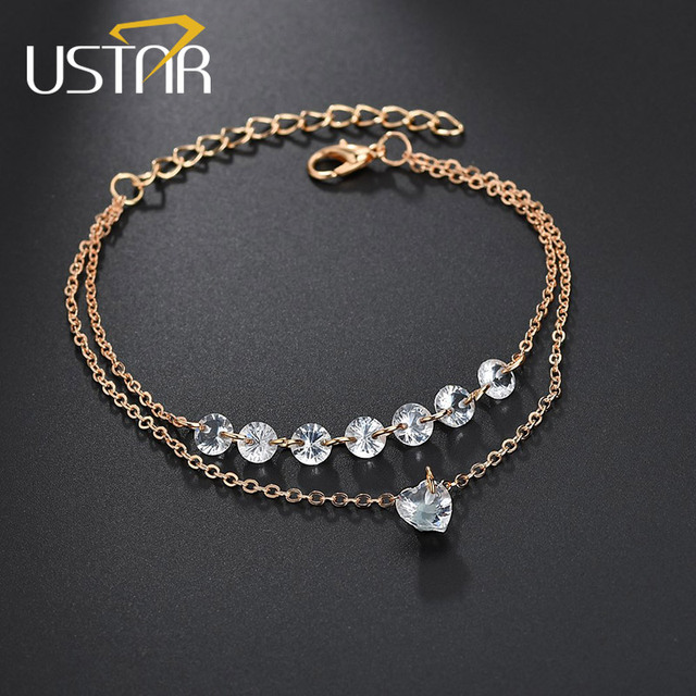 e6ab905c880b3 US $0.99 50% OFF|USTAR Heart Crystals Bracelets for women Double Layer  chain Water Drop Charm Bracelets female femme 2018 Fashion Jewelry Gifts-in  ...