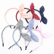 1PC Korean Cute Rabbit Ears Hairbands Cloth Bowknot Headband Plaid Striped Hair Accessories for Women Girls Fashion Hoops