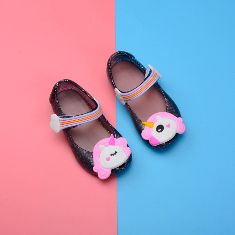 50259ec4156 Aliexpress.com   Buy Kids Mini Princess Girls Sandals Anti slip Jelly Shoes  with Unicorn Pattern Decor   Nylon Tape Closure Soft Beach Sandals Shoes  from ...