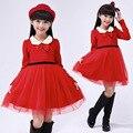 2017 Nueva Moda de Otoño Y de Invierno Cálido Rojo Vestidos de Las Muchachas de Malla de Manga Larga Vestido de Princesa