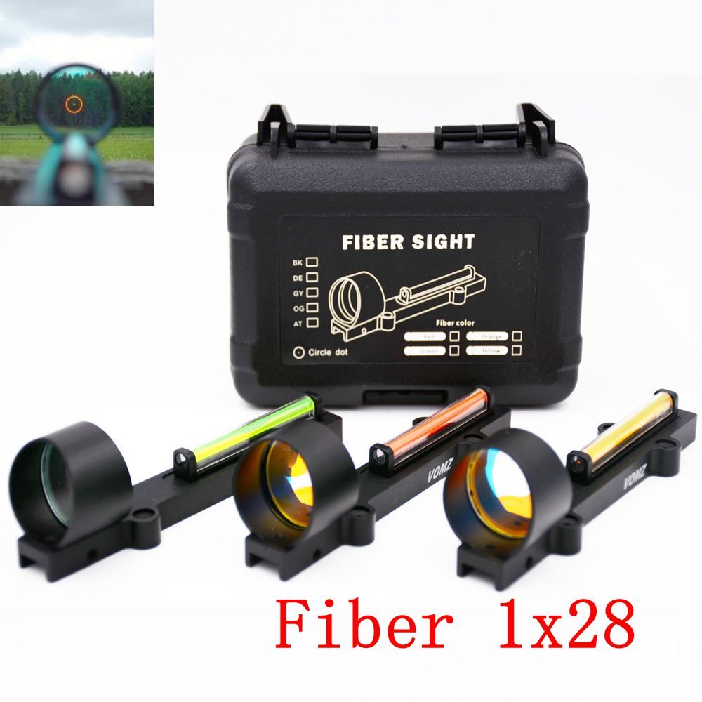 Light Weight Tactical 1X28 Circle Red Dot Fiber Collimeter Reflex Sight Scope Fit 11mm Mount Shotgun Rib Rail Hunting Shooting