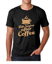 Cheap Tee Shirts Crew Neck Short-Sleeve Tall Life Begins After Coffee T Shirt For Men