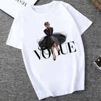 Camiseta ceñida de Mujer Verano 2019 con sección fina con letras Vogue Harajuku para Mujer