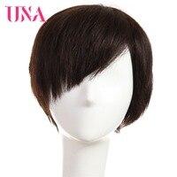 UNA человеческих волос парики половину рук связанные парики человеческих волос Малайзии Прямые человеческих волос парики Короткие малайзии