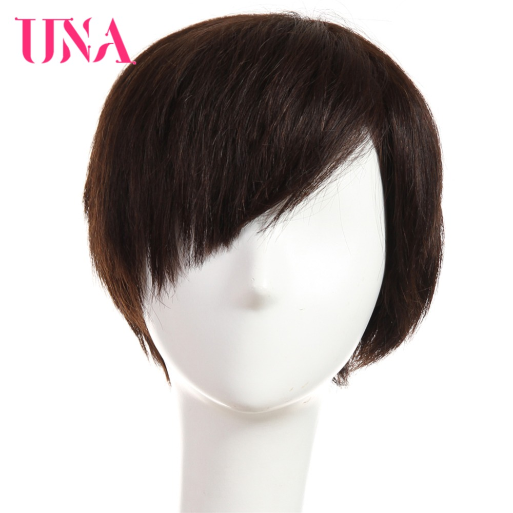 UNA Human Hair Wigs Half Hand-Tied Wigs Non-Remy Human Hair Malaysian Straight Human Hair Wigs Short Human Hair Wigs