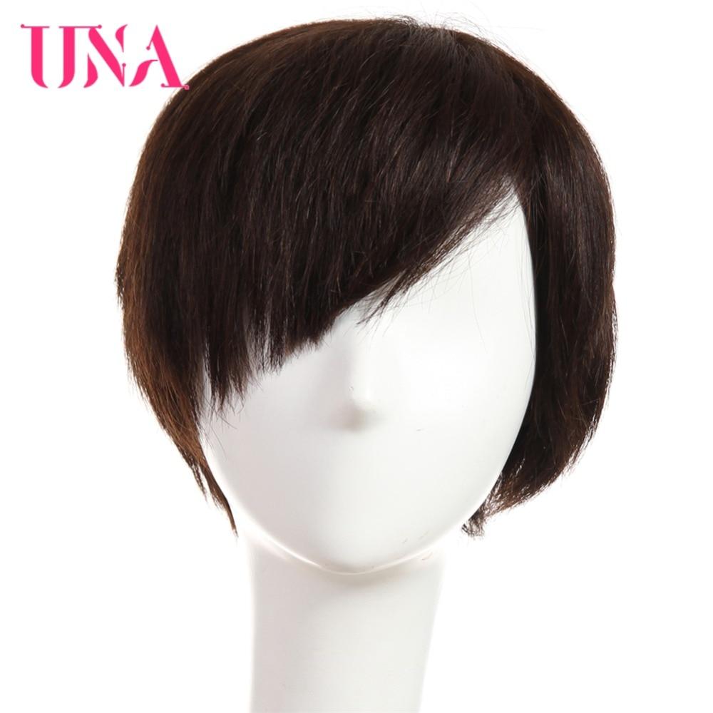 UNA Human Hair Wigs Half Hand-Tied Wigs Non-Remy Human Hair Malaysian Straight Human Hair Wigs Short Malaysian Human Hair Wigs