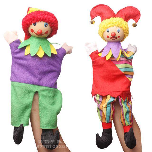 Candice guo payaso de dibujos animados marioneta de mano de juguete de felpa muñeca rellena pacificar educativos Familia Divertido juego bebé cuento infantil regalo