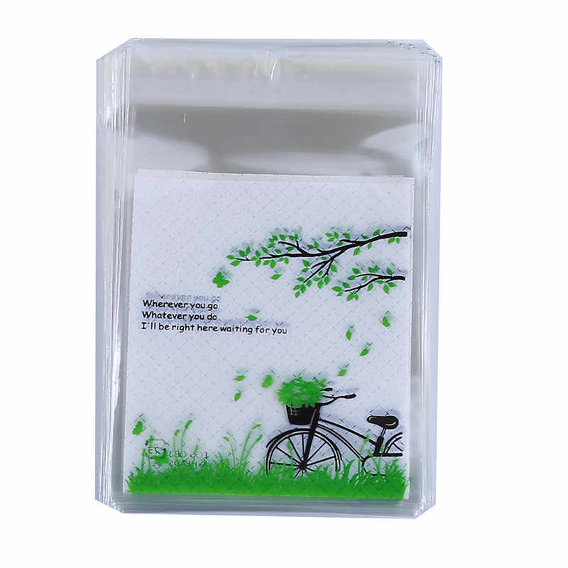 Useful Bicycle Decoration Green Self Adhesive Plastic Bag Cookie Bags Baking Package Dessert Biscuit Candy Packing Favors