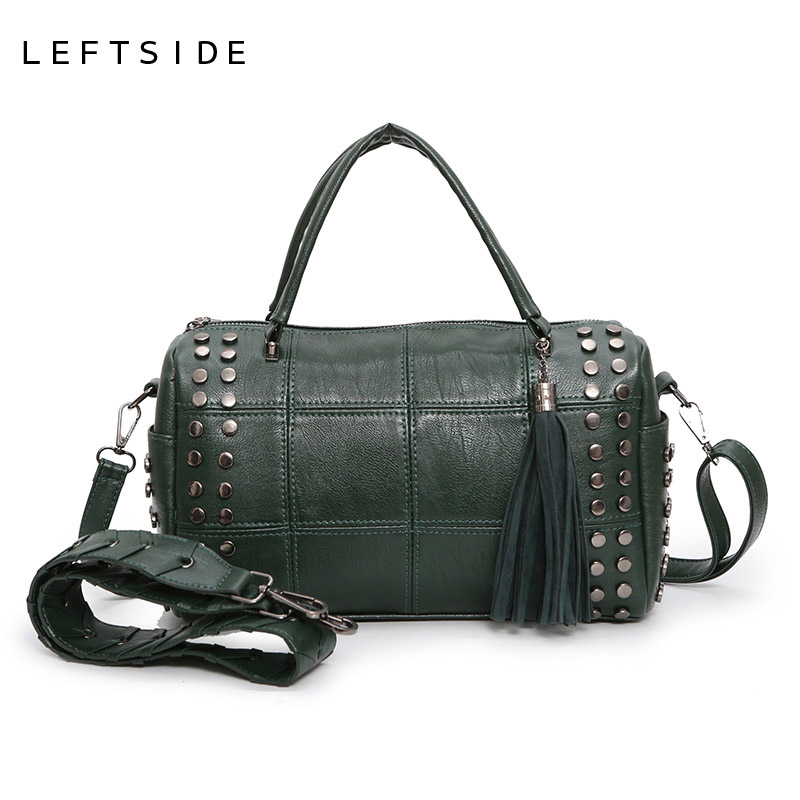 LEFTSIDE Fashionable 2017 Women Tassel Designer  Rivet Boston Bag Female Handbag Woman Hand Bags Shoulder Bag With Wide Strap vvmi 2016 new women handbag brand design rivet suede tassel bag chic classic vintage saddle bag single shoulder bag for female