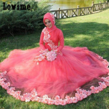 Online Cloths Store with Flowers Red Wedding Dresses with Hijab Garden Style Islamic Bridal Dresses Tulle Robe De Soiree