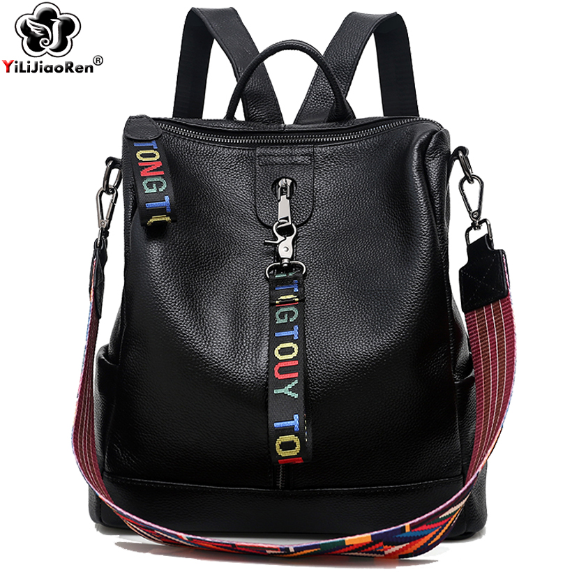 Famous Brand Genuine Leather Backpack Fashion Anti Theft Backpack Women Large Capacity Bookbag School Bag Travel Back Bag 2019