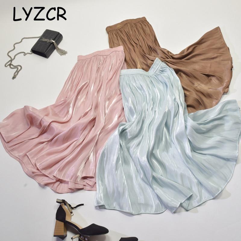 Pleated Stain Midi Silk Skirt Women Summer Maxi Satin Silk Skirt For Women Elegant High-Waisted Skirts Pleated Midi Jupe Longue